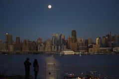 Luce della luna sul Hudson Immagine Stock