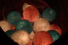 Luce della palla di cotone, giorno di natale Immagine Stock