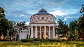 Luce di ateneo di Bucarest di mattina immagine stock libera da diritti