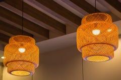 Luce di bambù della lanterna Immagine Stock