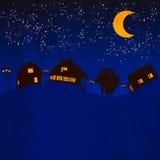 Luce di luna del villaggio Fotografia Stock Libera da Diritti