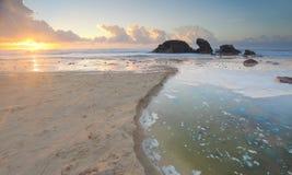 Luce di mattina al porto Macquarie della spiaggia del faro Fotografie Stock