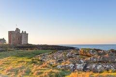 Luce di primo mattino del castello di Portencross Immagine Stock Libera da Diritti