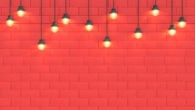 Luce di scena della parete e spazio rossi 3d rendere il fondo astratto di concetto 3d del nuovo anno di festa di natale illustrazione di stock