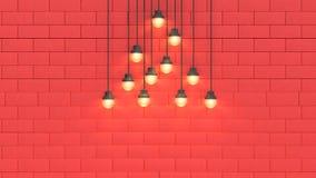 Luce di scena della parete e spazio rossi 3d rendere il fondo astratto di concetto 3d del nuovo anno di festa di natale illustrazione vettoriale