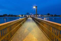 Luce di sera sul pilastro di pesca in Myers Beach forte immagine stock libera da diritti