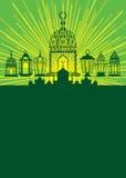 Luce di soggiorno della lanterna del Ramadan intorno alla carta illustrazione di stock