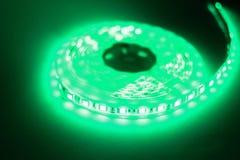 Luce di striscia verde del LED Fotografia Stock