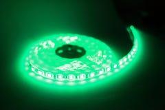 Luce di striscia verde del LED Fotografie Stock