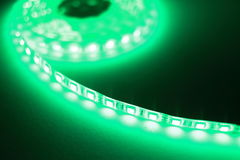 Luce di striscia verde del LED Fotografie Stock Libere da Diritti