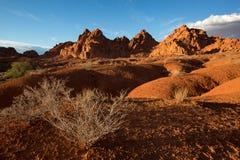 Luce di tramonto sopra la valle di fuoco nel Nevada Fotografia Stock