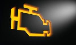 Luce di un poco arancio dell'indicatore del motore del controllo Immagini Stock Libere da Diritti