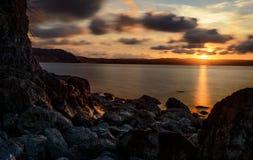 Luce dorata su Rocky Foot Fotografie Stock
