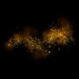 Luce e bokeh brillanti della stella dell'oro Backgro magico dell'estratto della polvere Fotografia Stock