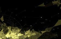 Luce eccellente s della maglia del triangolo del fondo nero astratto di tecnologia Fotografia Stock