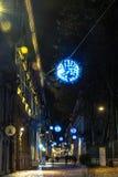Luce ed arte dentro via Carlo Alberto a Torino, Italia Fotografie Stock Libere da Diritti