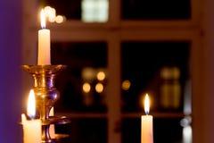 Luce festiva della candela fotografia stock