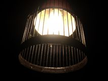 luce gialla con bambù fotografie stock