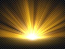 Luce intensa dorata astratta Illustrazione di vettore di scoppio di lustro dell'oro