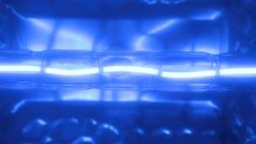 Luce intermittente di una spirale blu del tungsteno di una lampada alogena stock footage
