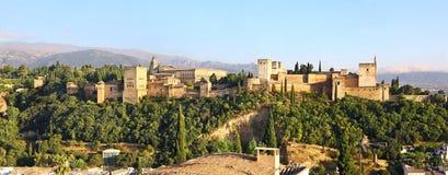 Luce magica del tramonto su Alhambra, Granada Fotografia Stock