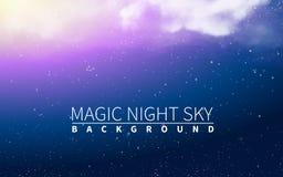 Luce magica della nuvola Stella di scoppio del blu La festa ha scoppiato gli elementi realistici di progettazione Illustrazione d Immagine Stock Libera da Diritti