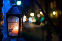 Luce notturna della via fotografia stock