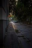 Luce notturna su una via a Tallinn Fotografie Stock Libere da Diritti