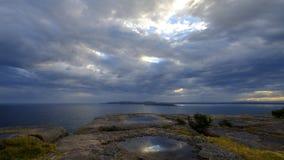 Luce perpendicolare del punto nella gamma dell'arma di Beecroft in Jervis Bay, NSW, Australia fotografia stock