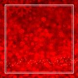 Luce rossa del bokeh del fiocco di neve con la struttura bianca in composizione quadrata Fotografia Stock Libera da Diritti