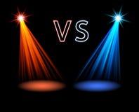 Luce rossa e blu del volume sul nero contro il vettore futuristico dello schermo di battaglia Immagini Stock