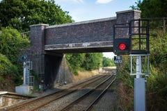 Luce rossa per il treno Fotografia Stock Libera da Diritti