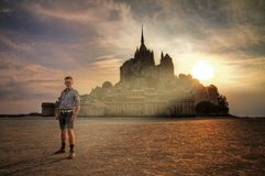Luce santa a quella scelta al Le Mont Saint-Michel fotografie stock libere da diritti