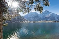 Luce solare che splende attraverso l'albero nel lago Fotografia Stock