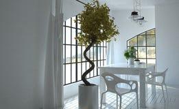Luce solare che viene attraverso le finestre in cucina Fotografia Stock