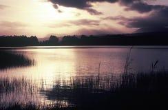 Luce solare di primo mattino riflessa sul lago Immagine Stock