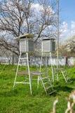 Luce solare di verdi del sole del cielo blu del tempo della stazione meteorologica di meteorologia del dispositivo vecchia buona fotografia stock libera da diritti