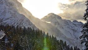 Luce solare svizzera delle alpi Fotografie Stock