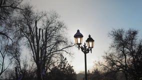 Luce solare tramite la lampada di via archivi video