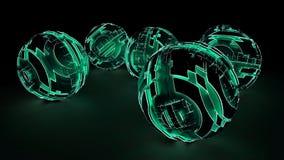 Luce verde d'ardore delle sfere futuristiche astratte Fotografie Stock