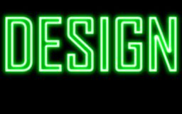 Luce verde dell'insegna al neon di incandescenza di progettazione fotografie stock