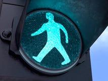 Luce verde pedonale Fotografia Stock Libera da Diritti