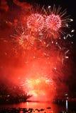 Luce vivida di colore rosso dei razzi Fotografie Stock Libere da Diritti