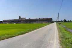 Lucedio, azienda agricola storica vicino a Vercelli, Italia, immagine stock