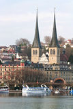 Lucern Church. Church with cityscape and lake in Lucern Switzerland Royalty Free Stock Photography