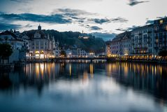 Lucern Harbor at Night stock images
