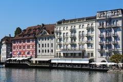 Lucerna al fiume Reuss, Svizzera Fotografia Stock