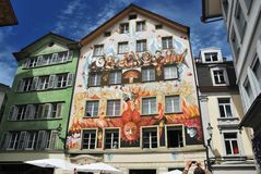 Lucerna, pintada de la calle Foto de archivo