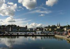 Lucerna Szwajcaria, Czerwiec, - 04, 2017: Lucerna pejzaż miejski z lak Obrazy Royalty Free
