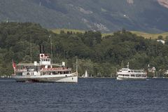 Lucerna, Szwajcaria Czerwiec 7 2017: Steamship na jeziornej lucernie, Szwajcaria; ARTYKUŁ WSTĘPNY Zdjęcie Royalty Free